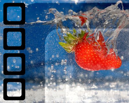 plunging: A juicy red strawberry plunging into some water. Stock Photo