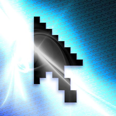 An illustration of a mouse arrow cursor isolated over a blue binary code abstract background. illustration