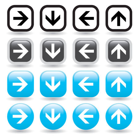 website buttons: A set of directional arrow vector icons in black and blue - great icon set for website navigation. Illustration