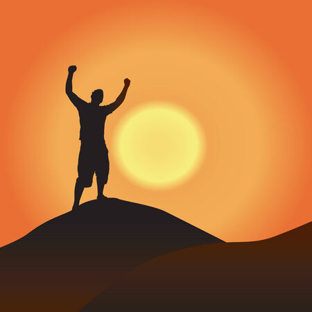inspirational: A silhouette of a man atop a mountain with his arms raised up in the air.