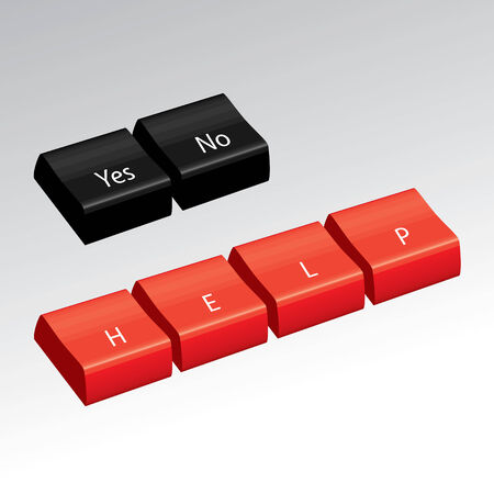 Some black 3d computer keys that say Yes and No.  Also red keys that say HELP. Vector
