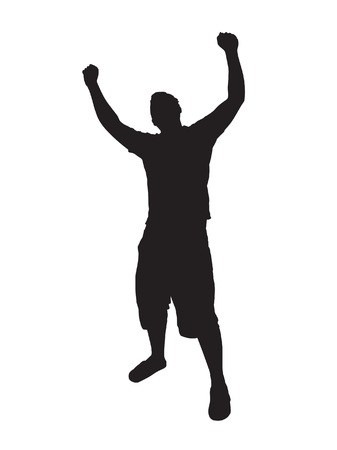 male arm: A young man joyously throws his hands up in the air.