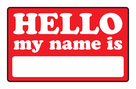 white greeting: Blank name tags that say HELLO MY NAME IS.