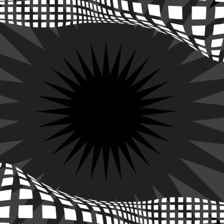 Black and white abstract border with squares over a starburst background - plenty of copyspace.