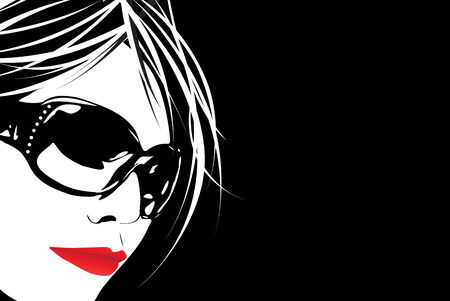 nude female: A high contrast illustration of a cute girl wearing sunglasses in vector format.
