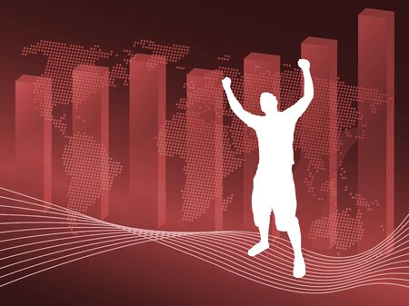 A world business illustration with a profit chart and a silhouette of a man posing victoriously. Stock Photo