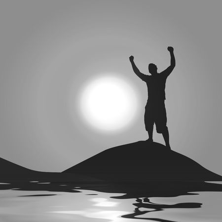 A silhouette of a man with his arms raised up in the air in front of the moon.