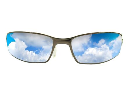 Some brown unisex sunglasses isolated over white. There is a reflection of the sky in the lenses. Stock Photo
