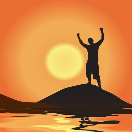 A silhouette of a man atop a mountain with his arms raised up in the air