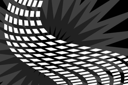 A trail of squares in a ribbon like pattern over a burst background.