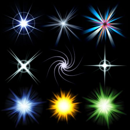 A collection of star bursts and abstract lens flares.  Use these as accents in your designs. Larger versions of each are also available in my portfolio. Foto de archivo
