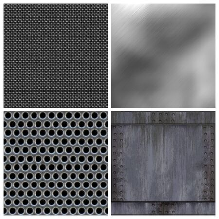 A collection of modern metals and carbon fiber textures. All but the top right texture tile seamlessly as a pattern. Larger versions available in my portfolio. Stock Photo - 3644163