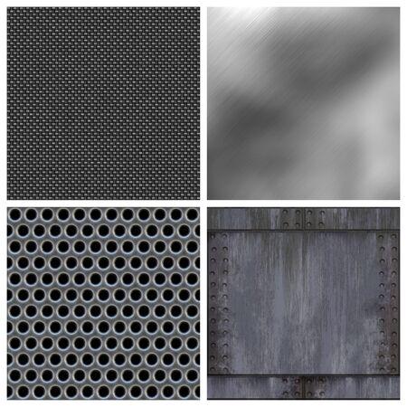 Una colección moderna de los metales y fibra de carbono texturas. Todos menos la parte superior derecha de azulejos y baldosas de textura perfectamente como un patrón. Ampliar las versiones disponibles en mi cartera. Foto de archivo - 3644163