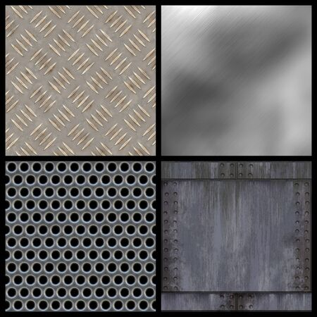 A collection of modern metal textures - all but the top right tile seamlessly as a pattern. Larger versions of each are also available in my portfolio. Stock Photo - 3670423