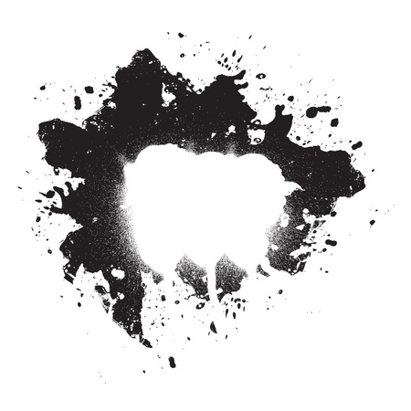 An abstract paint splatter frame in black and white. This vector element is fully editable. Ilustração