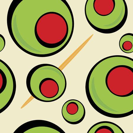 고명: A green olives pattern that tiles seamlessly in a pattern in any direction.  Great for a martini graphic or restaurant drinks menu. 일러스트