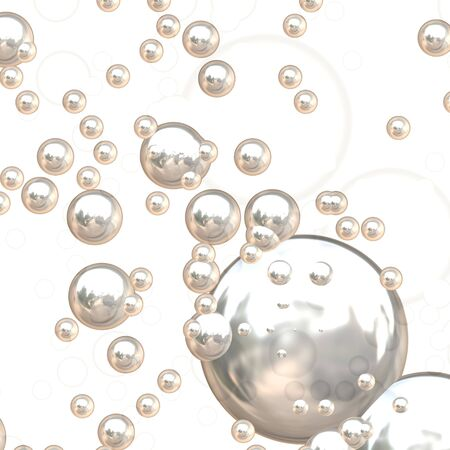 silver background: 3D chrome bubbles with ultra reflective surfaces. Stock Photo