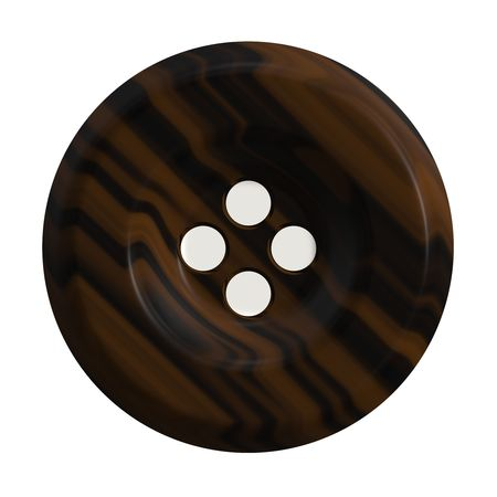 craft button: A 3d button commonly used in clothing isolated over white.
