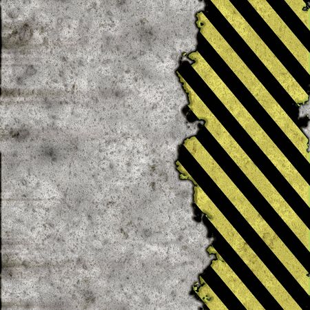 hazard stripes: A grunge background featuring hazard stripes over a concrete wall. Plenty of copy space. This image even tiles seamlessly as a pattern.