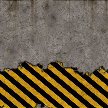 hazard: A grunge background featuring hazard stripes over a concrete wall. Plenty of copy space. This  tiles seamlessly as a pattern. Stock Photo