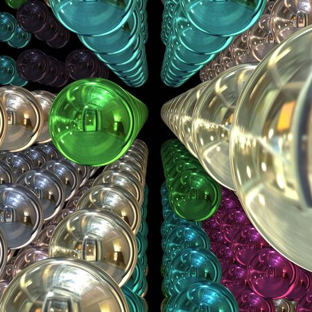 reflective: 3D chrome spheres with ultra reflective surfaces. Stock Photo