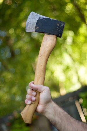 A man holding onto a small hatchet used to chop wood. Stock Photo - 3703522