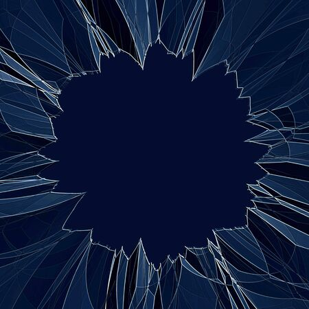 sabotage: Glass that is cracked and shattered with copyspace in the center.