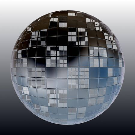 A chrome sphere covered in square shapes over its frame. photo