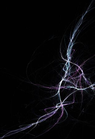 jolt: Bolts of fractal lightning isolated over a black background. Stock Photo