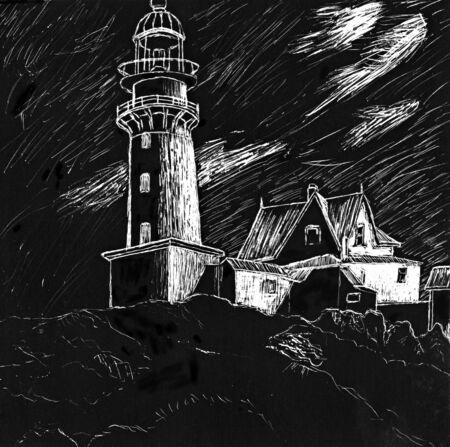 scratch board: A scratch board drawing of a lighthouse up on a cliff.  This illustration is my own work.
