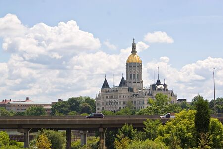 connecticut: The golden-domed capitol building in Hartford, Connecticut. Stock Photo