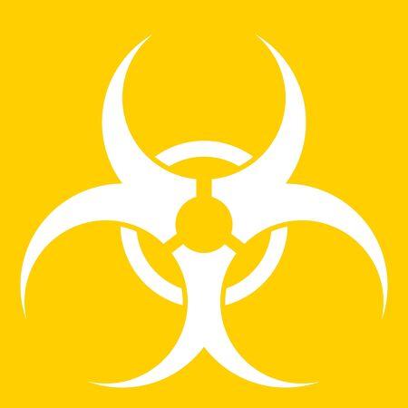 黄色の背景上の白いバイオハザード記号です。 写真素材 - 3879691