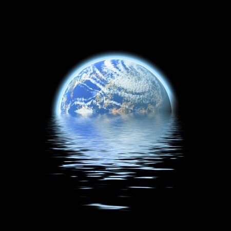 denote: The earth floating in a pool of water - this works great to denote a flood or to represent the melting of the polar ice caps.