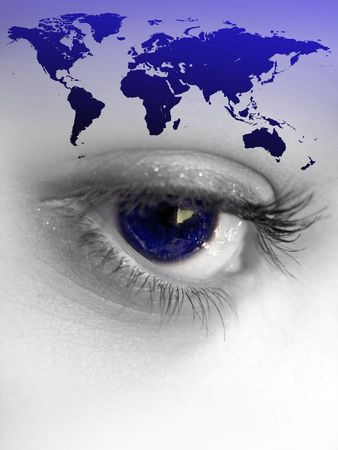 Montage of a pretty color isolated eye with the world continents. Stock Photo - 3879699