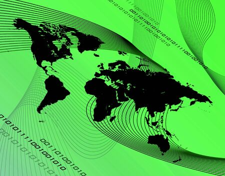 international internet: A world map montage over a green background.