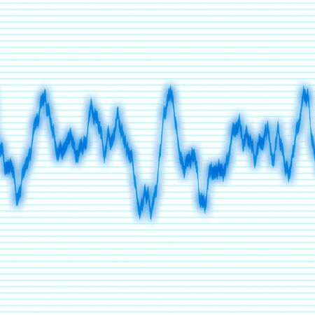 vibrations: A blue audio waveform over a black background.  It also could be a heartrate monitor. Stock Photo