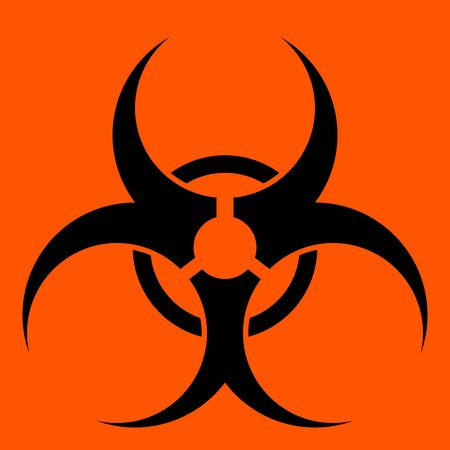 Biohazard symbol over a solid red background. photo
