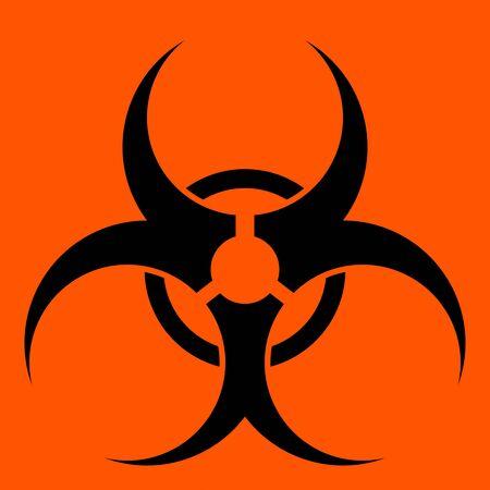 riesgo biologico: S�mbolo de riesgo biol�gico en un s�lido fondo rojo.