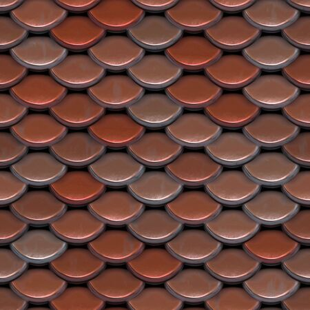 roof shingles: A texture that looks like roofing tiles or even the scales on a fish or reptile.  This image tiles seamlessly as a pattern. Stock Photo