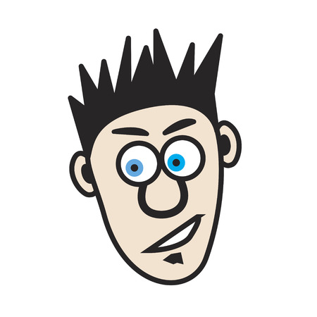 white hair: Illustration of a young cartoon man that has spiked hair and a soal patch.