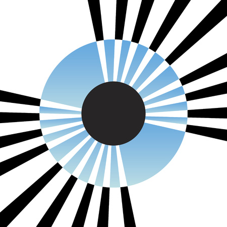 protruding: An abstract illustration of an eye iris with lines protruding from the center.  This vector is fully editable. Illustration