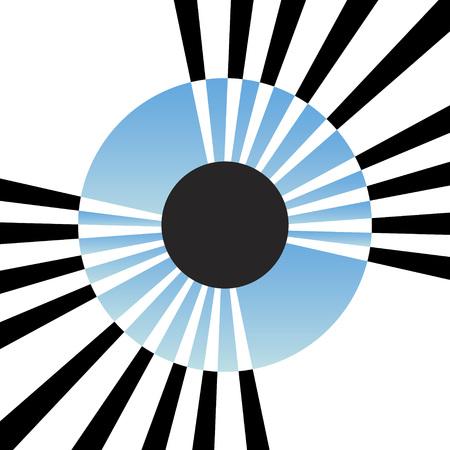 Un resumen de una ilustración del iris del ojo con líneas saliente del centro. Este vector es totalmente editable. Ilustración de vector