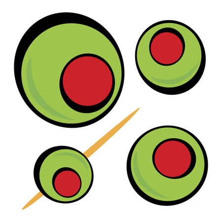 toothpick: A variety of green olives.  Great clip art for a martini graphic or restaurant drinks menu. Illustration