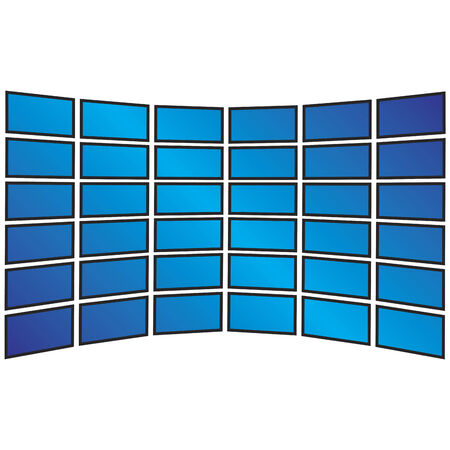 krökt: A wall of tv sets displayed with copyspace for your own images.  This vector illustration is fully customizable.