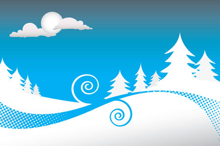 silouettes: A winter scene with silouettes of pine trees on a snowy night and lots of copyspace.  This vector is fully customizable.