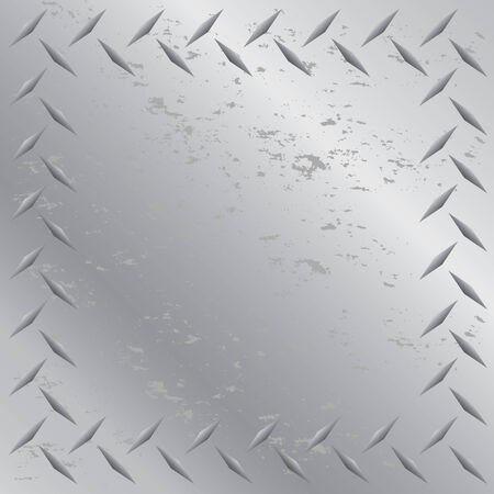 A worn diamond plate frame texture that tiles seamlessly in any direction.  This vector image is easily customized to any other style. Vector