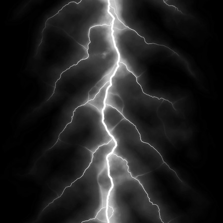 Bolts of lightning isolated over a black background. Foto de archivo