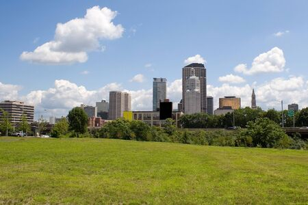 A view of the city skyline in Hartford Connecticut on a nice day. Stock Photo