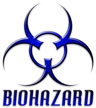 poison symbol: Danger! The BIOHAZARD symbol and type in blue and black. Stock Photo