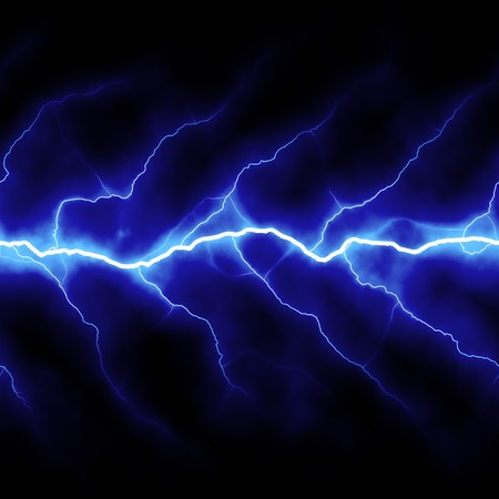 Bolts of lightning isolated over a black background. Stock Photo
